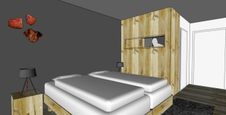 Rooms, twin or double beds.